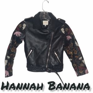 Hannah Banana Faux Leather Embroidered Motorcycle Jacket